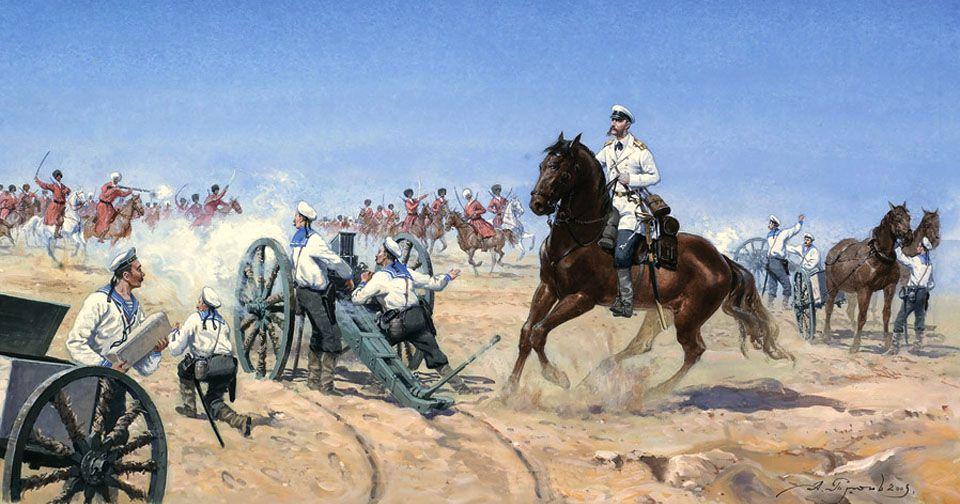 Моряки отражают атаку туркменской конницы в Ахал-Текинском походе