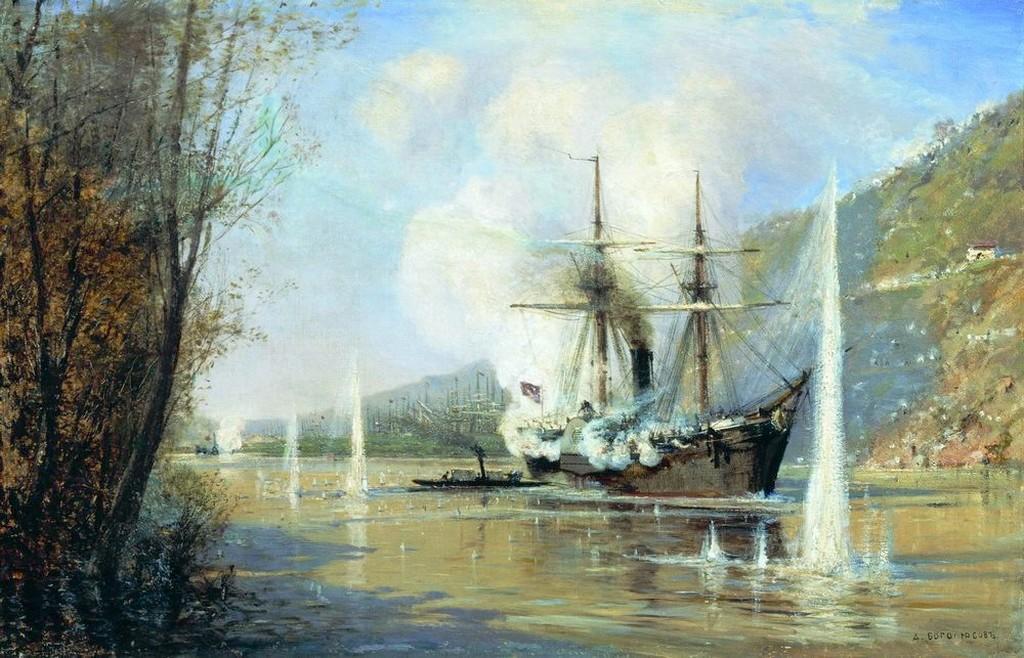Атака турецкого парохода миноносной лодкой Шутка 16 июня 1877 г. Художник Боголюбов А.П.