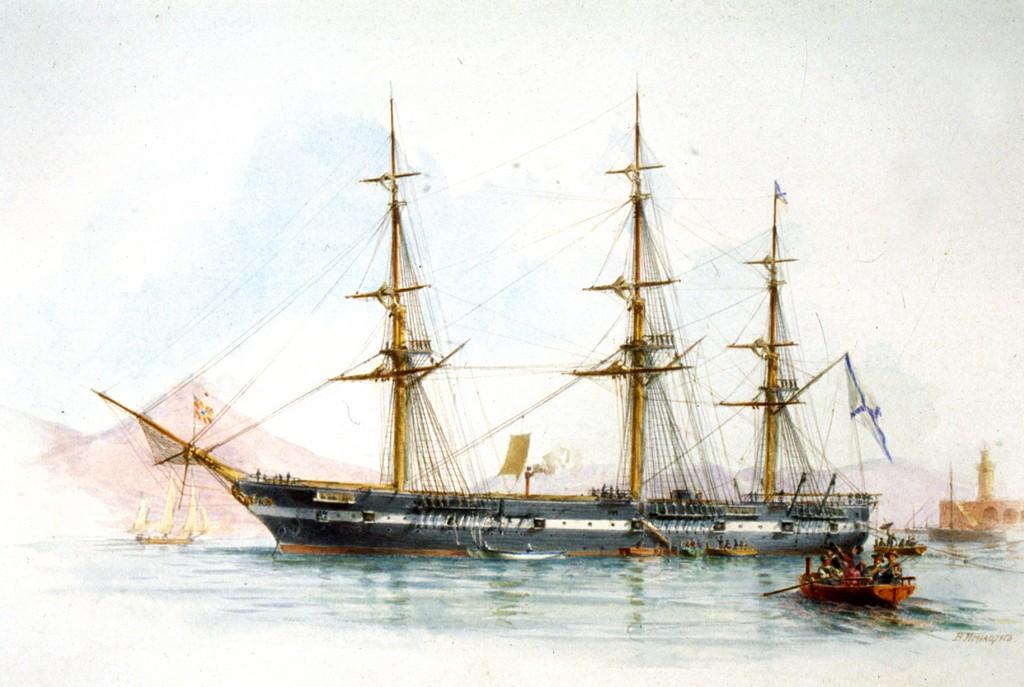 Фрегат Светлана 1874-1888 гг. Рисунок офицера флота Игнациуса В.В.